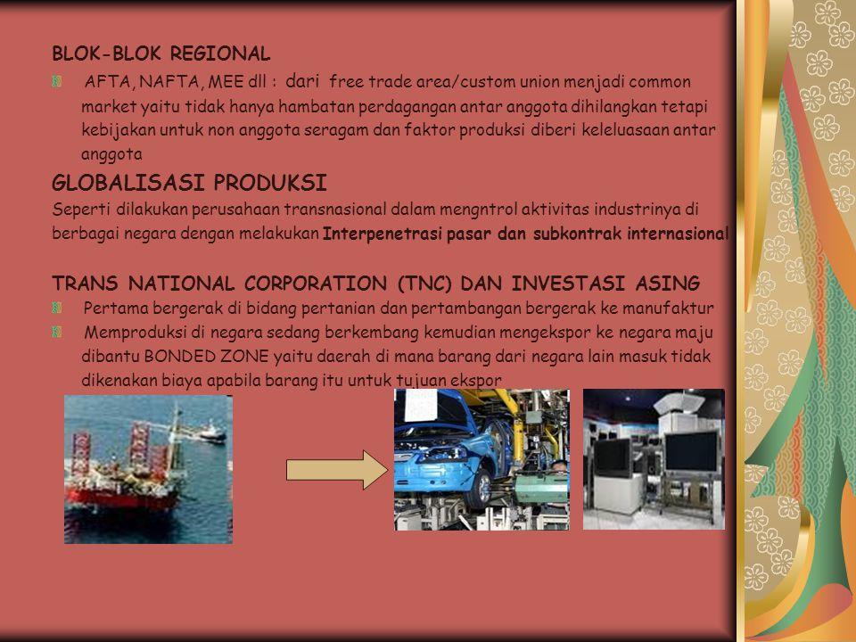 BLOK-BLOK REGIONAL AFTA, NAFTA, MEE dll : dari free trade area/custom union menjadi common market yaitu tidak hanya hambatan perdagangan antar anggota