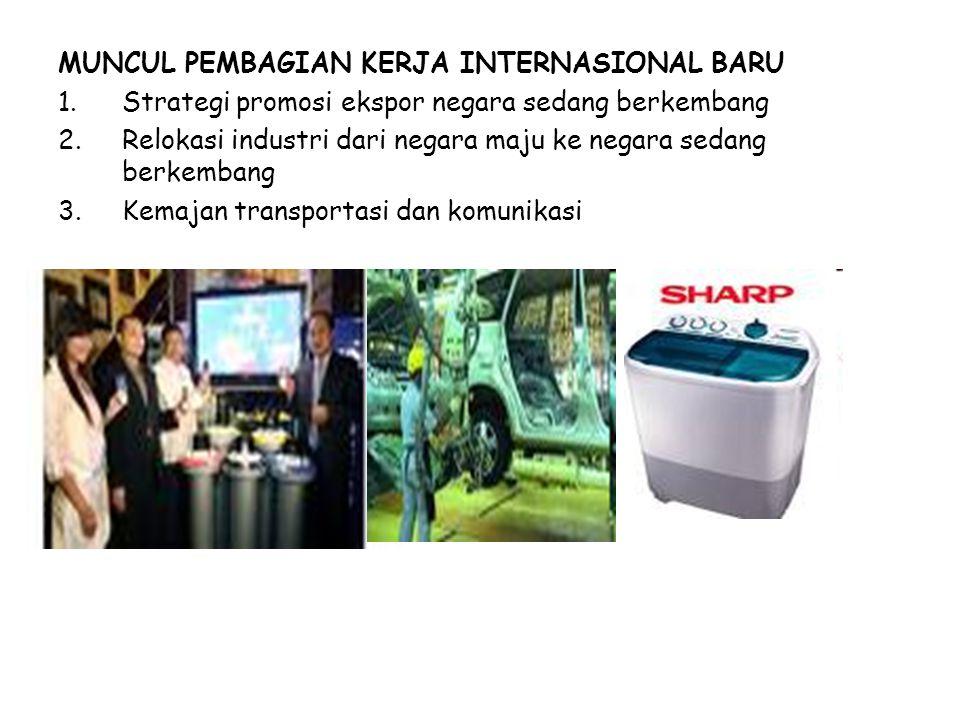 MUNCUL PEMBAGIAN KERJA INTERNASIONAL BARU 1.Strategi promosi ekspor negara sedang berkembang 2.Relokasi industri dari negara maju ke negara sedang berkembang 3.Kemajan transportasi dan komunikasi