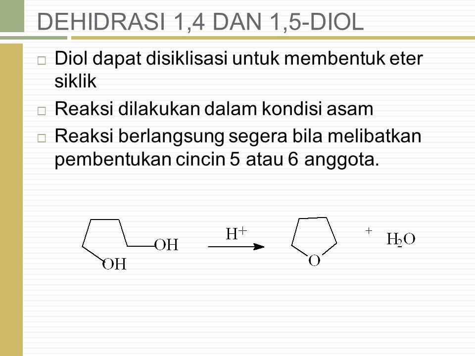 DEHIDRASI 1,4 DAN 1,5-DIOL  Diol dapat disiklisasi untuk membentuk eter siklik  Reaksi dilakukan dalam kondisi asam  Reaksi berlangsung segera bila