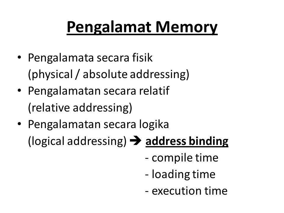 Pengalamat Memory Pengalamata secara fisik (physical / absolute addressing) Pengalamatan secara relatif (relative addressing) Pengalamatan secara logi