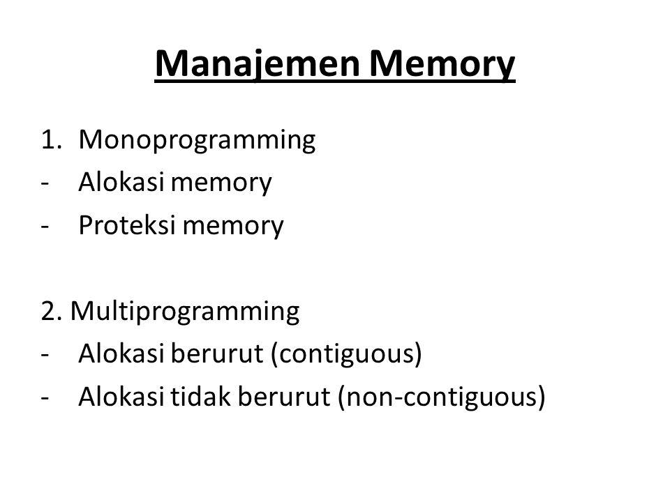 Manajemen Memory 1.Monoprogramming -Alokasi memory -Proteksi memory 2. Multiprogramming -Alokasi berurut (contiguous) -Alokasi tidak berurut (non-cont