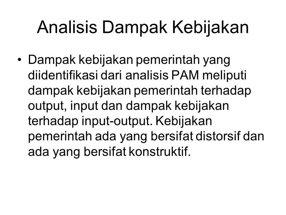 Analisis Dampak Kebijakan Dampak kebijakan pemerintah yang diidentifikasi dari analisis PAM meliputi dampak kebijakan pemerintah terhadap output, inpu