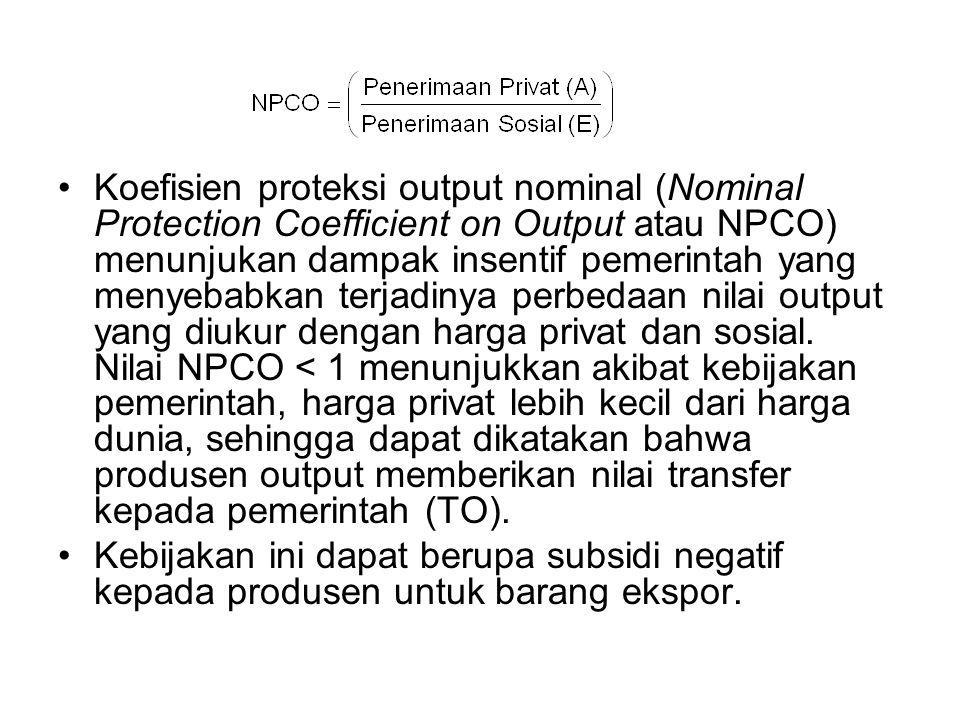 Koefisien proteksi output nominal (Nominal Protection Coefficient on Output atau NPCO) menunjukan dampak insentif pemerintah yang menyebabkan terjadin