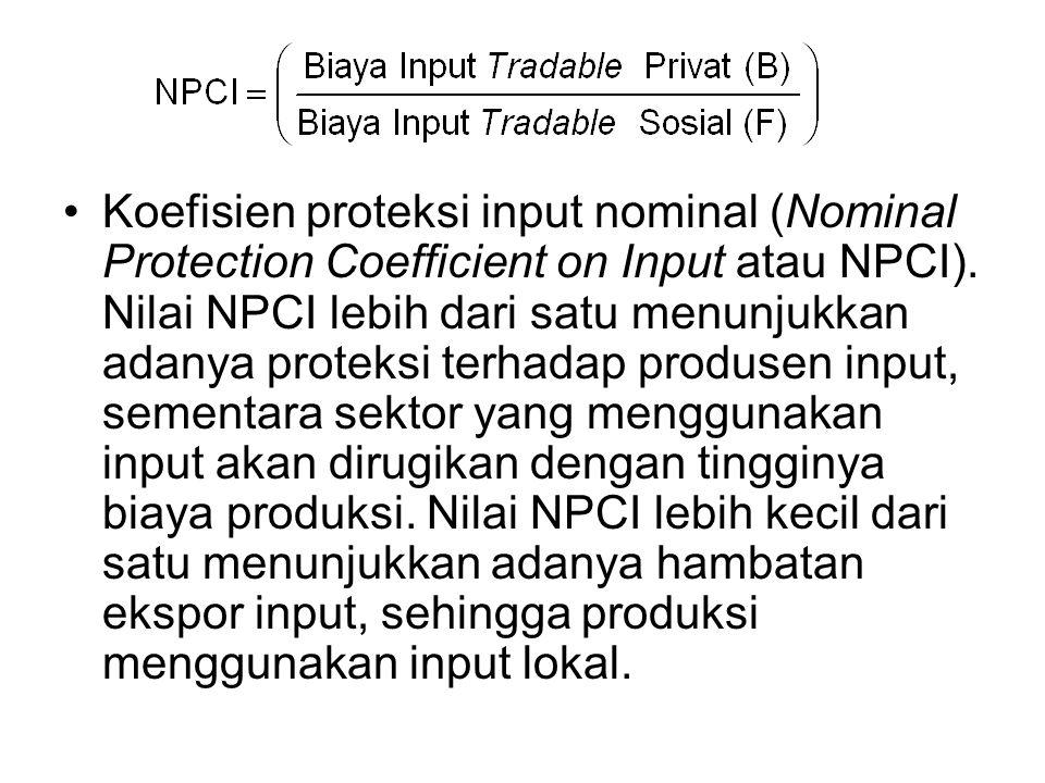 Koefisien proteksi input nominal (Nominal Protection Coefficient on Input atau NPCI). Nilai NPCI lebih dari satu menunjukkan adanya proteksi terhadap