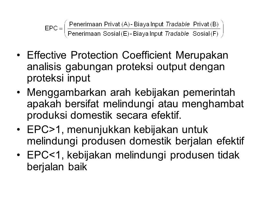 Effective Protection Coefficient Merupakan analisis gabungan proteksi output dengan proteksi input Menggambarkan arah kebijakan pemerintah apakah bers