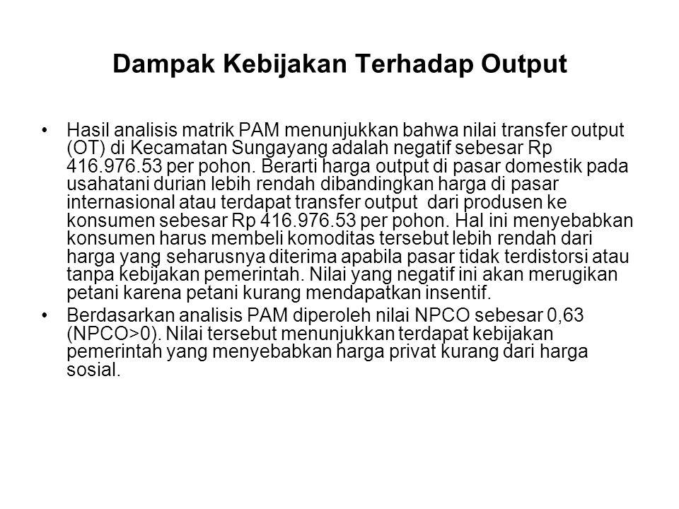 Dampak Kebijakan Terhadap Output Hasil analisis matrik PAM menunjukkan bahwa nilai transfer output (OT) di Kecamatan Sungayang adalah negatif sebesar