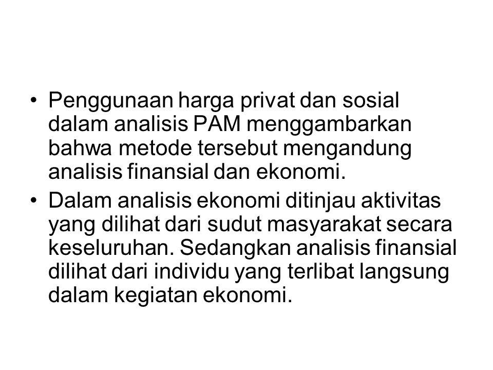Penggunaan harga privat dan sosial dalam analisis PAM menggambarkan bahwa metode tersebut mengandung analisis finansial dan ekonomi. Dalam analisis ek