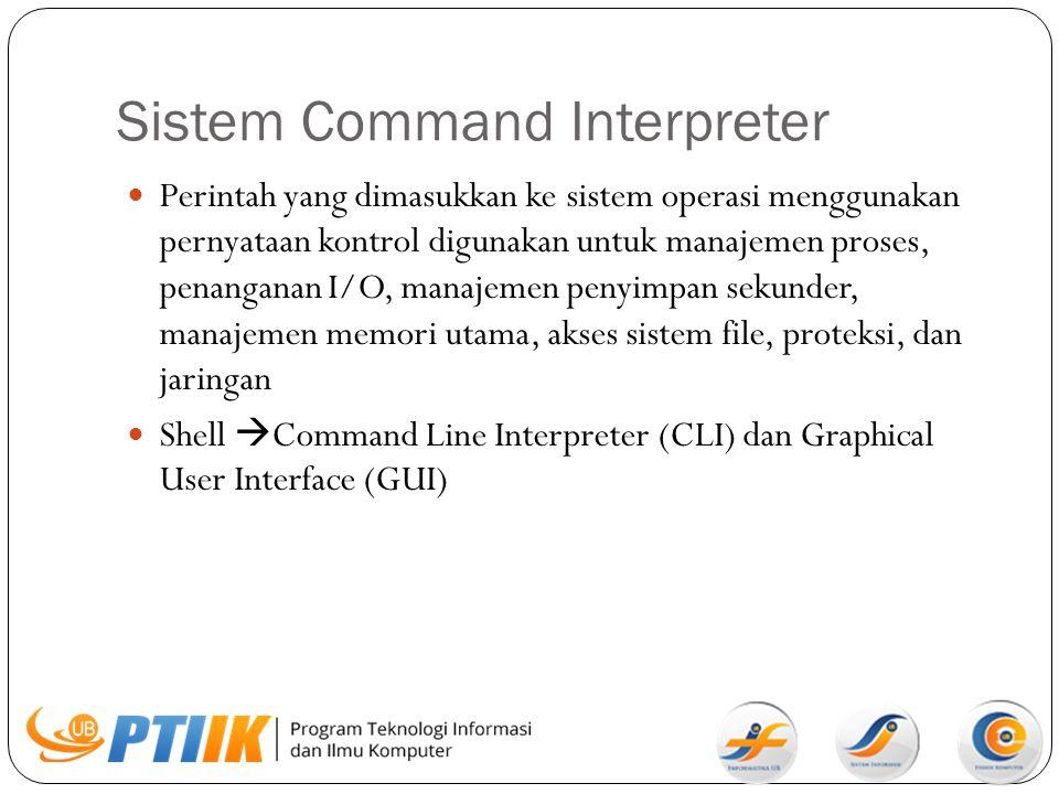 Sistem Command Interpreter Perintah yang dimasukkan ke sistem operasi menggunakan pernyataan kontrol digunakan untuk manajemen proses, penanganan I/O,