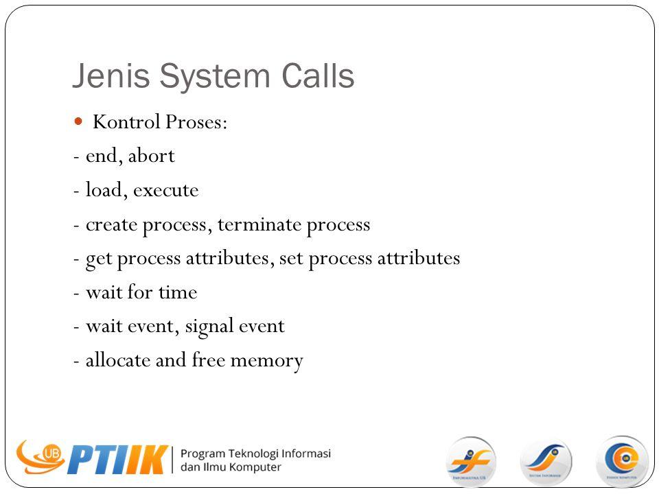 Jenis System Calls Kontrol Proses: - end, abort - load, execute - create process, terminate process - get process attributes, set process attributes -