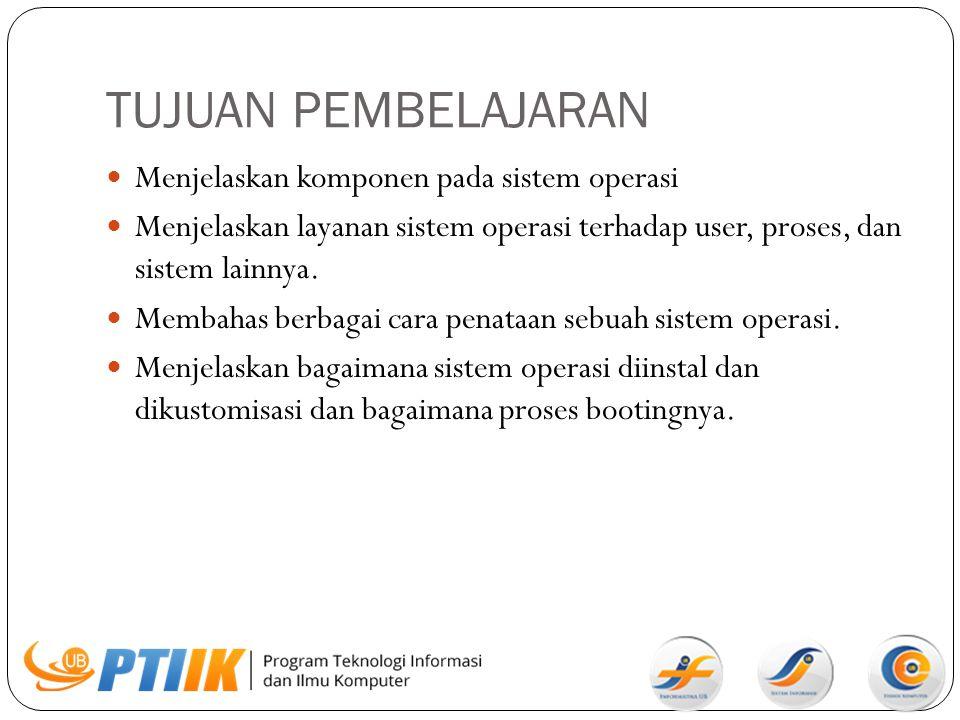 Komponen Sistem Manajemen proses Manajemen memori utama Manajemen file Manajemen sistem I/O Manajemen penyimpan sekunder Sistem jaringan (terdistribusi) Sistem proteksi Sistem command interpreter.