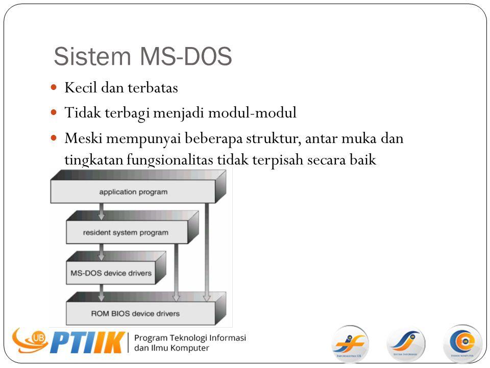 Sistem MS-DOS Kecil dan terbatas Tidak terbagi menjadi modul-modul Meski mempunyai beberapa struktur, antar muka dan tingkatan fungsionalitas tidak te