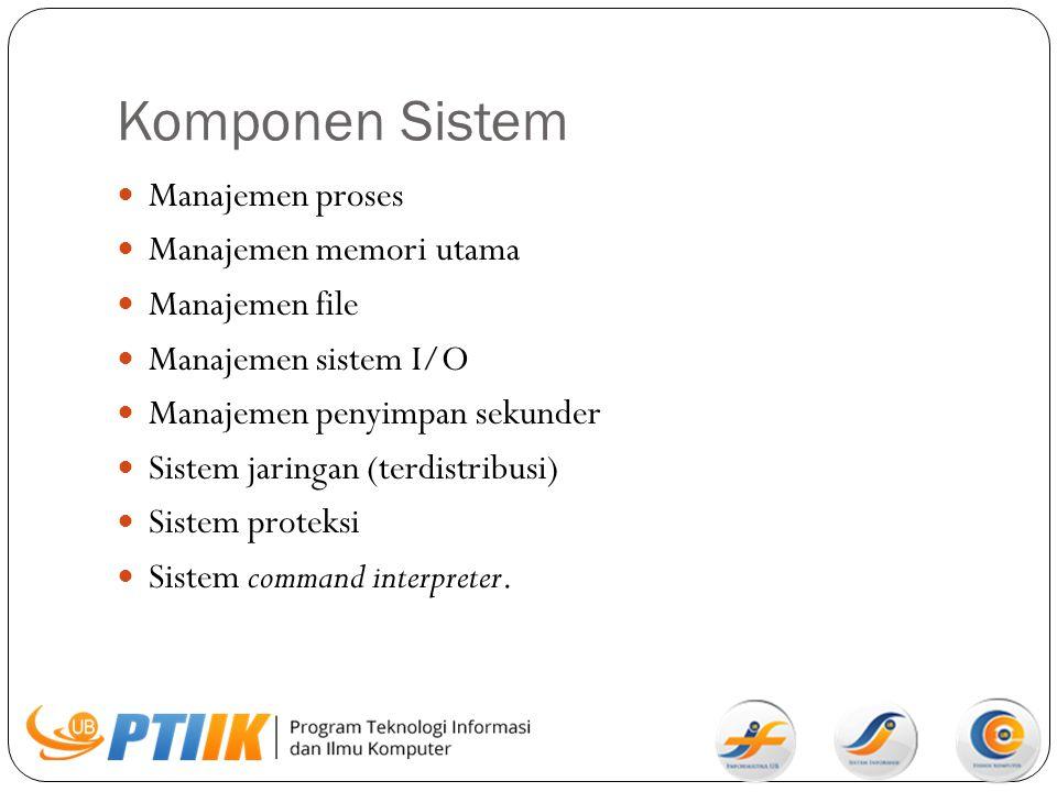 Manajemen Proses Proses  Program yang sedang dieksekusi Tanggung jawab sistem operasi pada aktifitas-aktifitas manajemen proses: - pembuatan/penghapusan proses oleh user atau sistem - menghentikan proses sementara dan melanjutkannya - menyediakan mekanisme sinkronisasi dan komunikasi proses Proses  resource (waktu CPU, memori, file, I/O device)