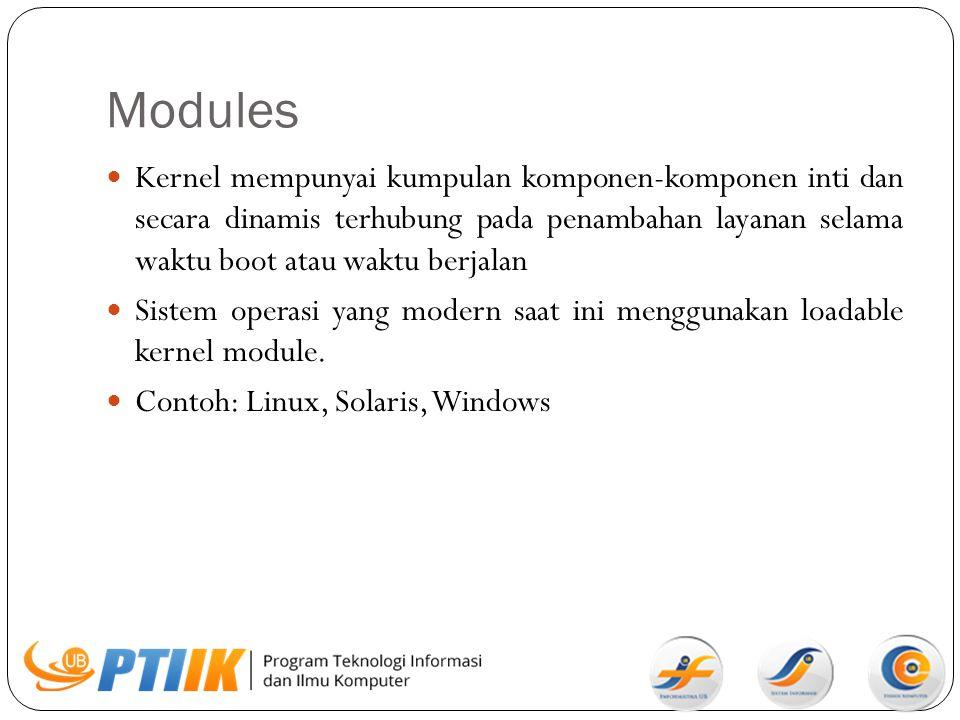Modules Kernel mempunyai kumpulan komponen-komponen inti dan secara dinamis terhubung pada penambahan layanan selama waktu boot atau waktu berjalan Si