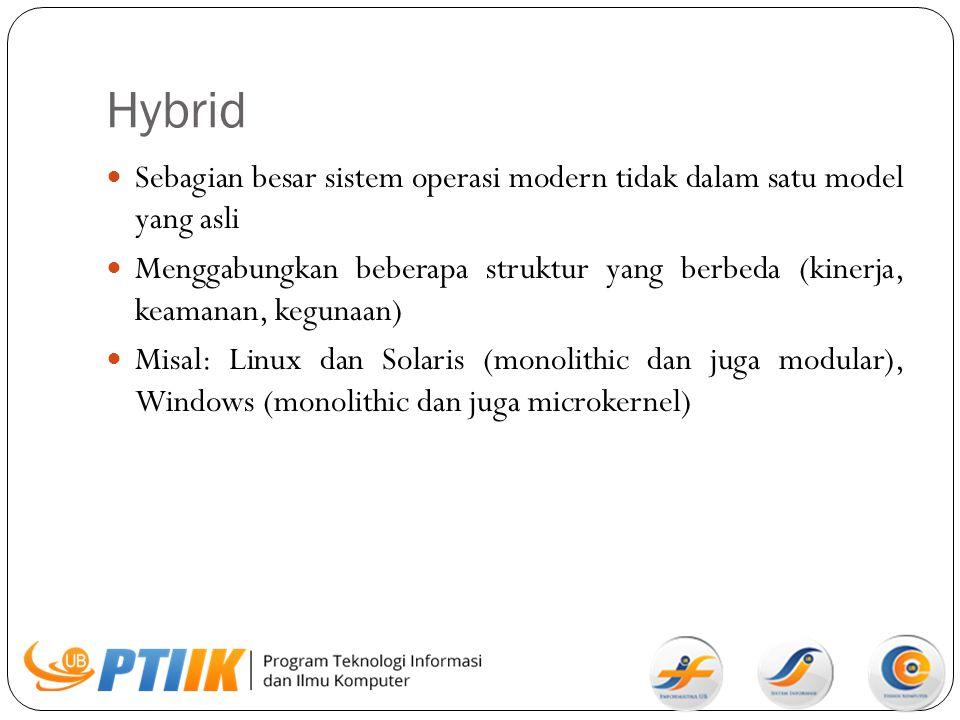 Hybrid Sebagian besar sistem operasi modern tidak dalam satu model yang asli Menggabungkan beberapa struktur yang berbeda (kinerja, keamanan, kegunaan