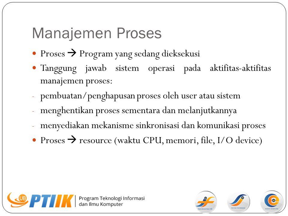 Manajemen Memori Utama Memori  array besar berukuran word atau byte yang mempunyai alamat tertentu Memori bersifat volatile (RAM) Tanggung jawab sistem operasi pada aktifitas-aktifitas manajemen memori: - Menjaga dan memelihara bagian memori yang sedang digunakan dan dari yang menggunakan - Memutuskan proses tertentu yang harus dipanggil ke memori - Mengalokasikan dan mendealokasikan ruang memori