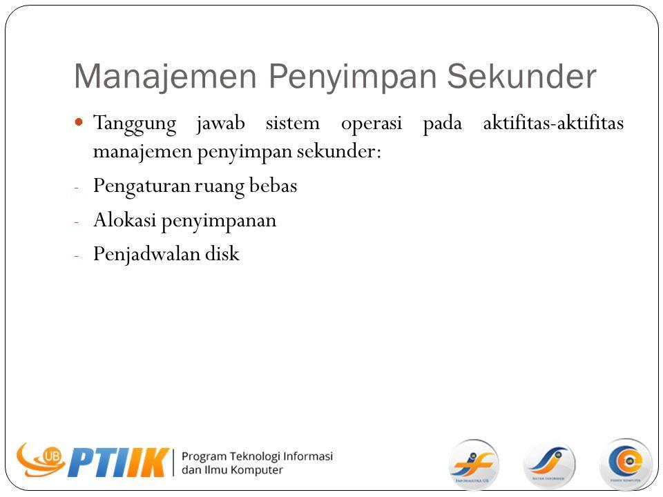 Manajemen Penyimpan Sekunder Tanggung jawab sistem operasi pada aktifitas-aktifitas manajemen penyimpan sekunder: - Pengaturan ruang bebas - Alokasi p