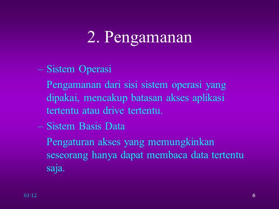 03:146 2. Pengamanan –Sistem Operasi Pengamanan dari sisi sistem operasi yang dipakai, mencakup batasan akses aplikasi tertentu atau drive tertentu. –