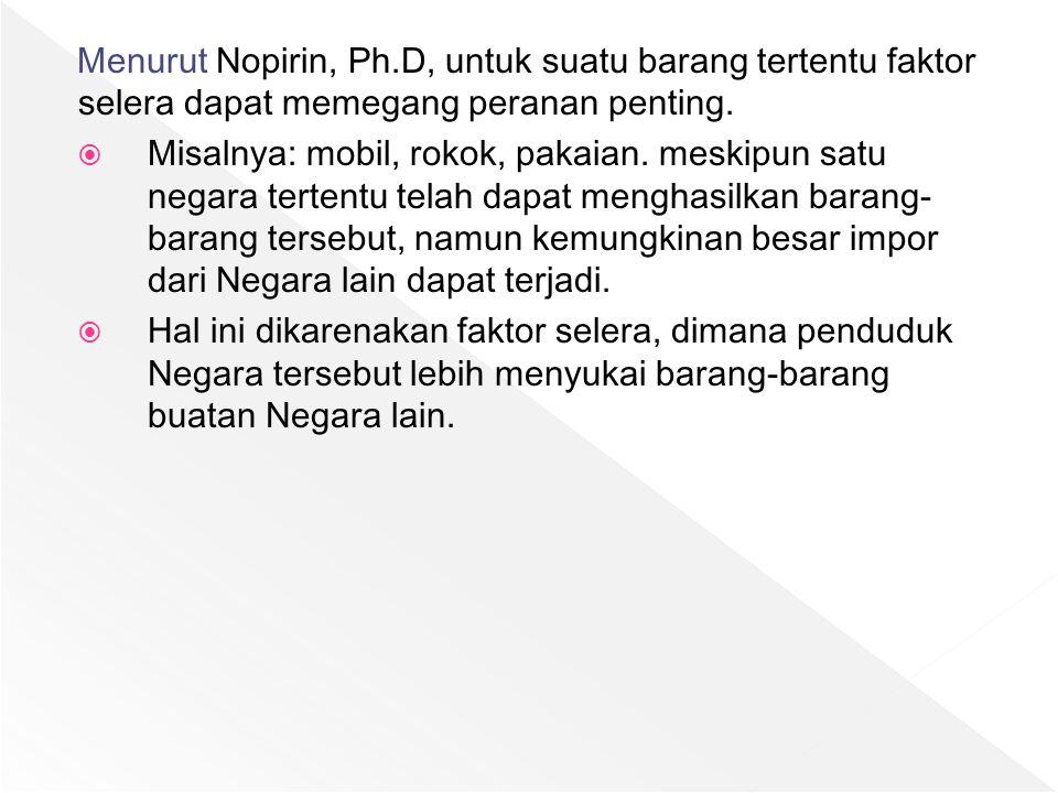 Menurut Nopirin, Ph.D, untuk suatu barang tertentu faktor selera dapat memegang peranan penting.  Misalnya: mobil, rokok, pakaian. meskipun satu nega