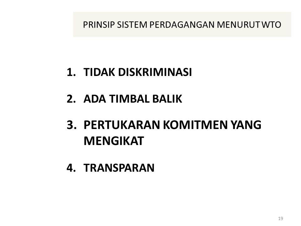 PRINSIP SISTEM PERDAGANGAN MENURUT WTO 1.TIDAK DISKRIMINASI 2.ADA TIMBAL BALIK 3.PERTUKARAN KOMITMEN YANG MENGIKAT 4.TRANSPARAN 19