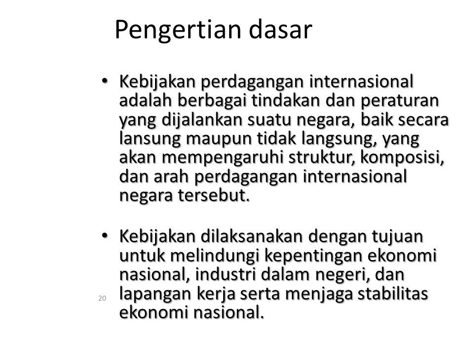 Pengertian dasar Kebijakan perdagangan internasional adalah berbagai tindakan dan peraturan yang dijalankan suatu negara, baik secara lansung maupun t