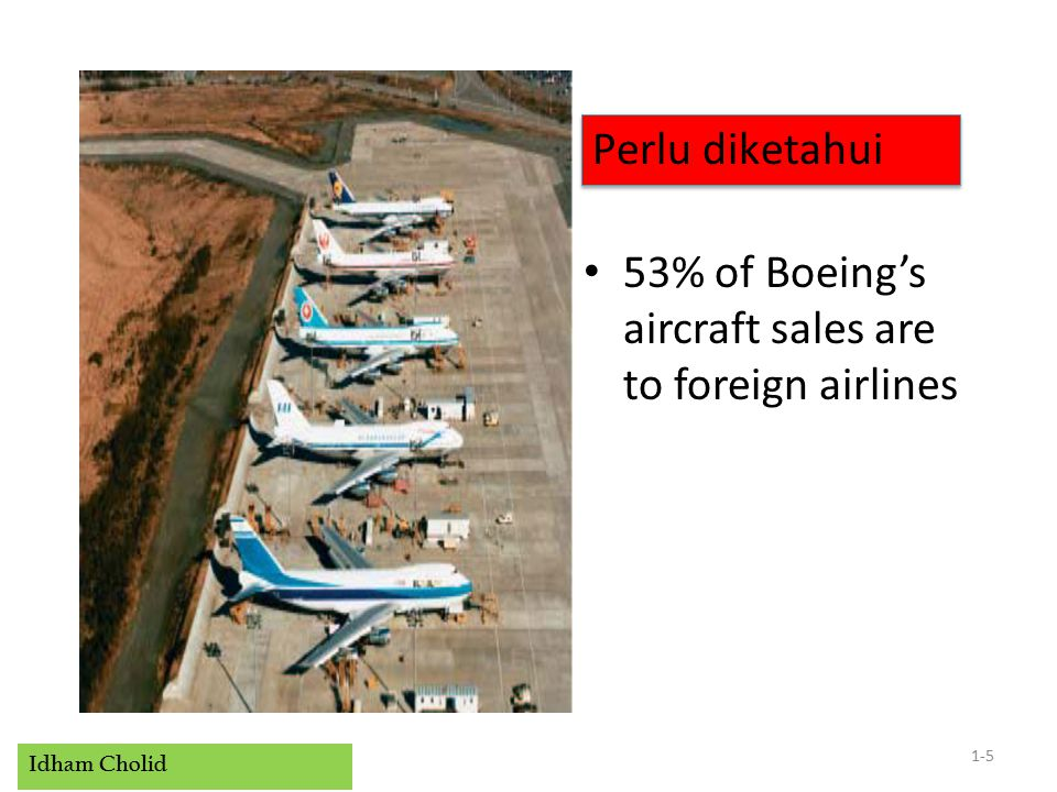 Idham Cholid 53% of Boeing's aircraft sales are to foreign airlines 1-5 Perlu diketahui