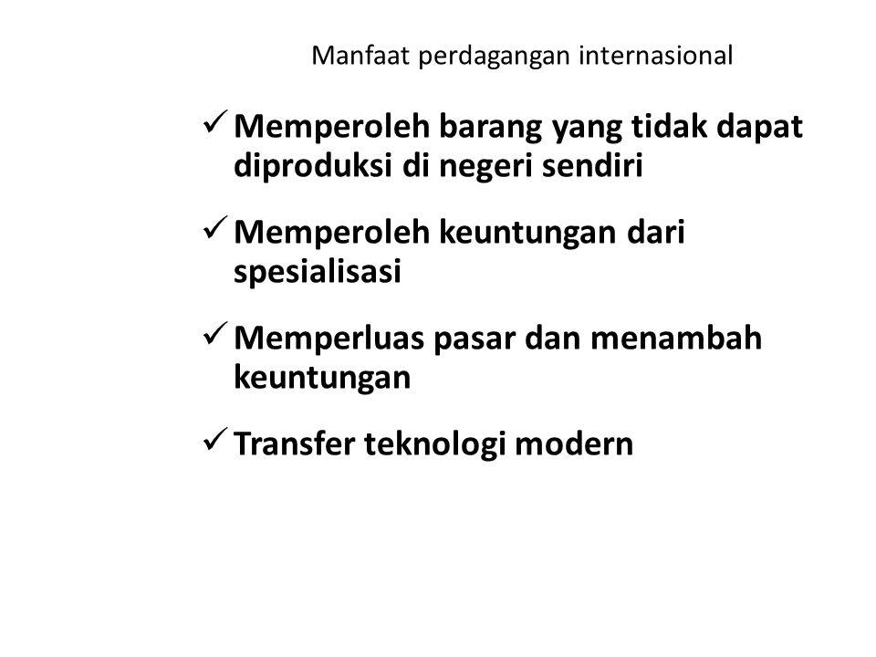 Manfaat perdagangan internasional Memperoleh barang yang tidak dapat diproduksi di negeri sendiri Memperoleh keuntungan dari spesialisasi Memperluas p