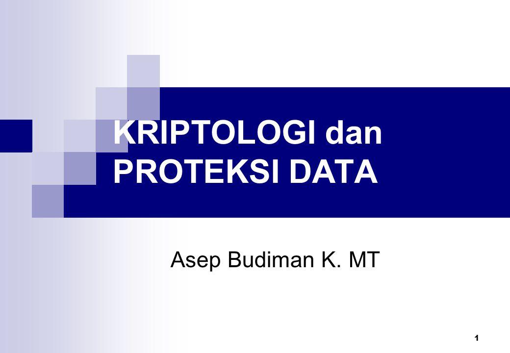 1 KRIPTOLOGI dan PROTEKSI DATA Asep Budiman K. MT