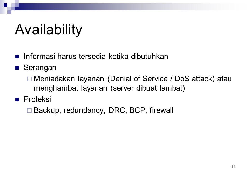 11 Availability Informasi harus tersedia ketika dibutuhkan Serangan  Meniadakan layanan (Denial of Service / DoS attack) atau menghambat layanan (ser