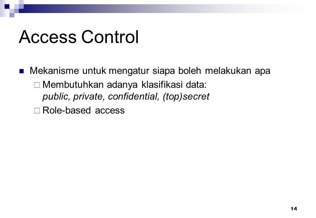 14 Access Control Mekanisme untuk mengatur siapa boleh melakukan apa  Membutuhkan adanya klasifikasi data: public, private, confidential, (top)secret