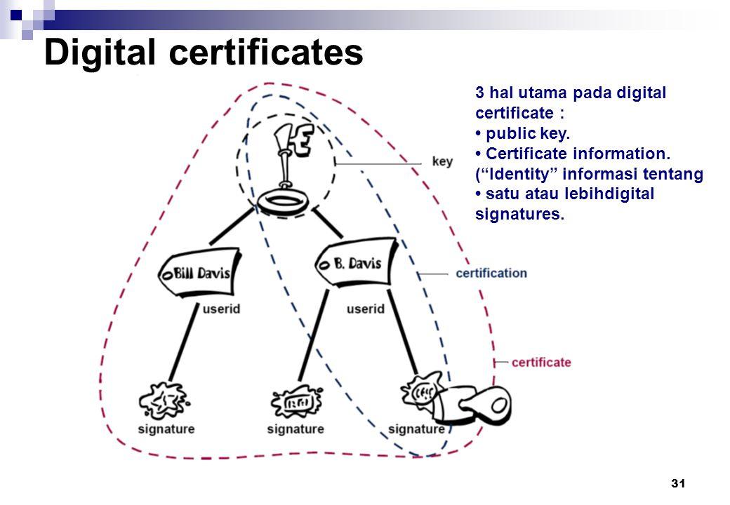 """31 Digital certificates 3 hal utama pada digital certificate : public key. Certificate information. (""""Identity"""" informasi tentang satu atau lebihdigit"""
