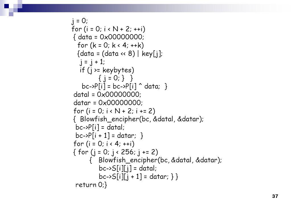 37 j = 0; for (i = 0; i < N + 2; ++i) { data = 0x00000000; for (k = 0; k < 4; ++k) {data = (data << 8) | key[j]; j = j + 1; if (j >= keybytes) { j = 0