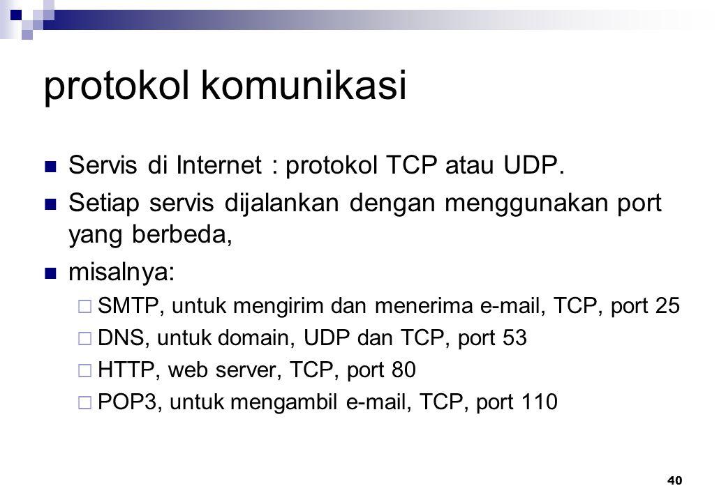40 protokol komunikasi Servis di Internet : protokol TCP atau UDP. Setiap servis dijalankan dengan menggunakan port yang berbeda, misalnya:  SMTP, un