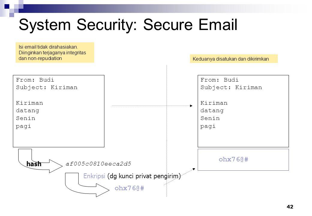 42 System Security: Secure Email From: Budi Subject: Kiriman Kiriman datang Senin pagi af005c0810eeca2d5 From: Budi Subject: Kiriman Kiriman datang Se