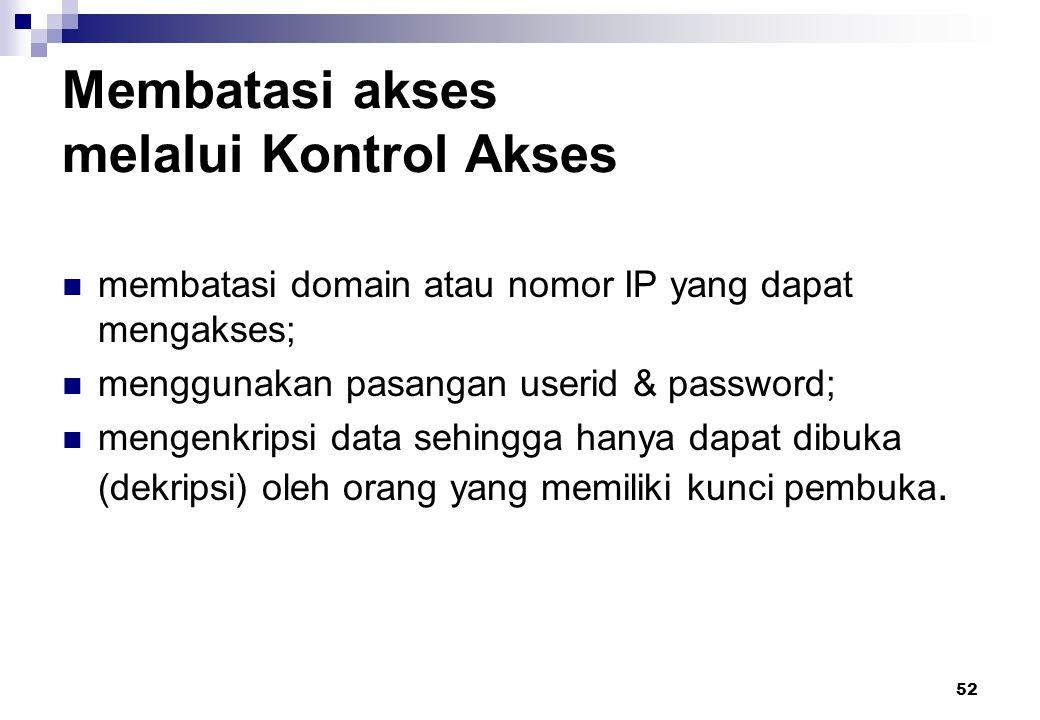52 Membatasi akses melalui Kontrol Akses membatasi domain atau nomor IP yang dapat mengakses; menggunakan pasangan userid & password; mengenkripsi dat
