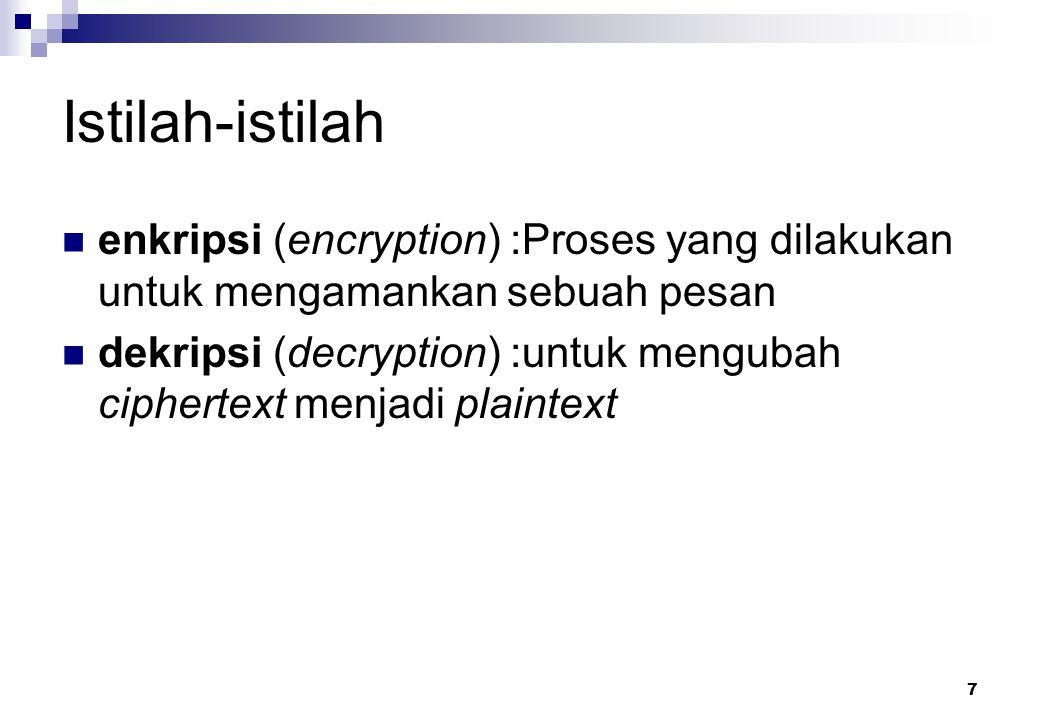 7 Istilah-istilah enkripsi (encryption) :Proses yang dilakukan untuk mengamankan sebuah pesan dekripsi (decryption) :untuk mengubah ciphertext menjadi