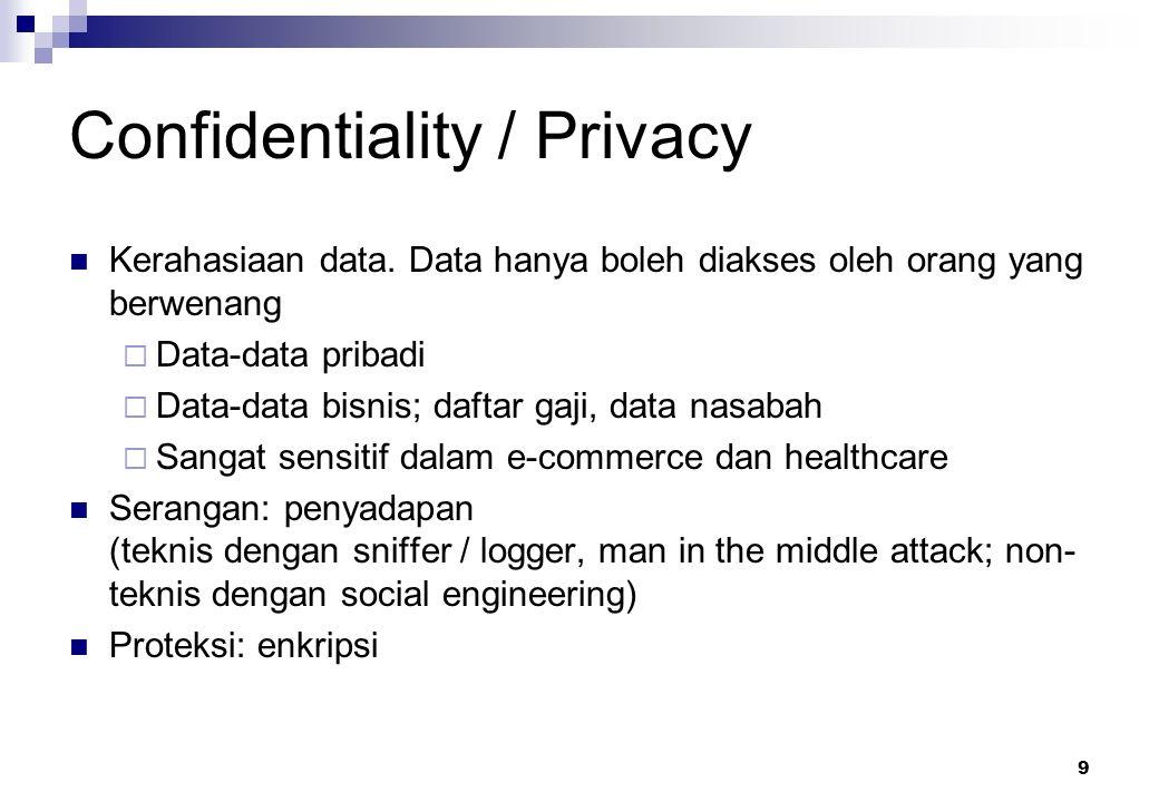9 Confidentiality / Privacy Kerahasiaan data. Data hanya boleh diakses oleh orang yang berwenang  Data-data pribadi  Data-data bisnis; daftar gaji,