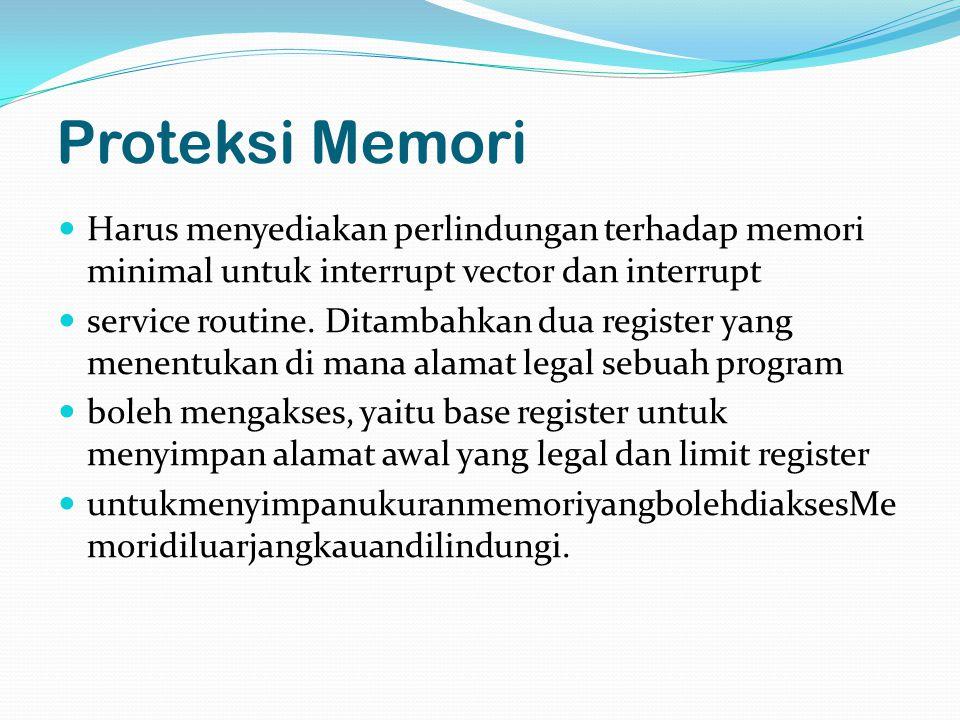 Proteksi Memori Harus menyediakan perlindungan terhadap memori minimal untuk interrupt vector dan interrupt service routine.