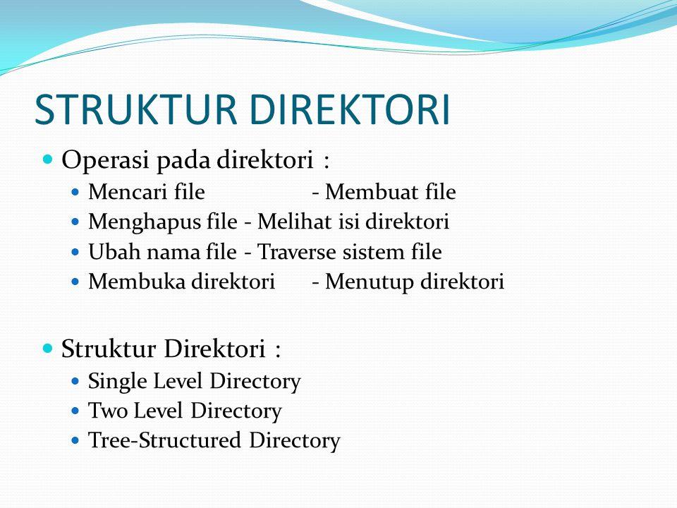 STRUKTUR DIREKTORI Single Level Directory Semua file terdapat pada direktori yang sama Tiap file memiliki nama yang unik