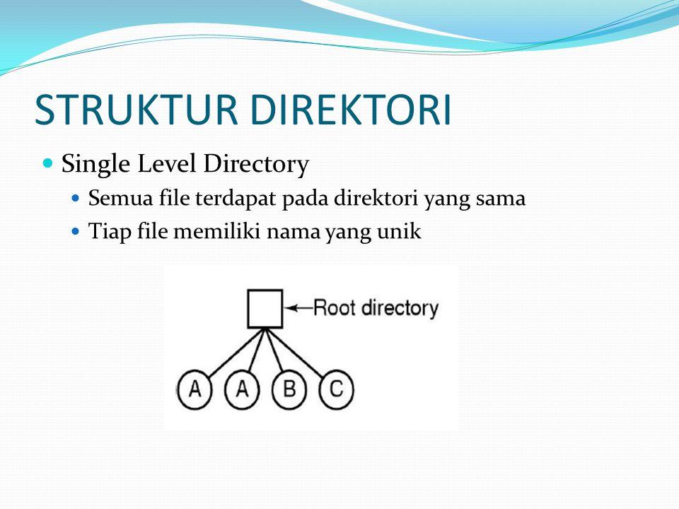 STRUKTUR DIREKTORI Two Level Directory Membuat direktori yang terpisah untuk tiap user Terdapat User File Directory (UFD) dan Master File Directory