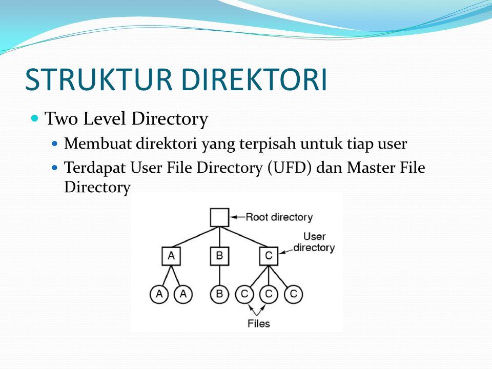 STRUKTUR DIREKTORI Tree Structured Directory Tiap direktori dapat mengandung file dan subdirektori Current Directory adalah direktori yang baru-baru ini digunakan