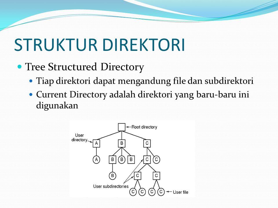 STRUKTUR DIREKTORI Acyclic Graph Directory Tiap direktori dapat mengandung file dan subdirektori Current Directory adalah direktori yang baru-baru ini digunakan