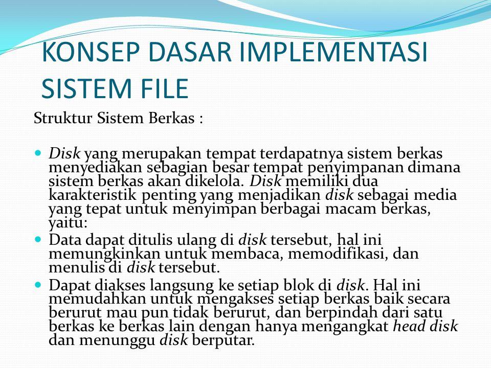 Implementasi Sistem File ORGANISASI DISK