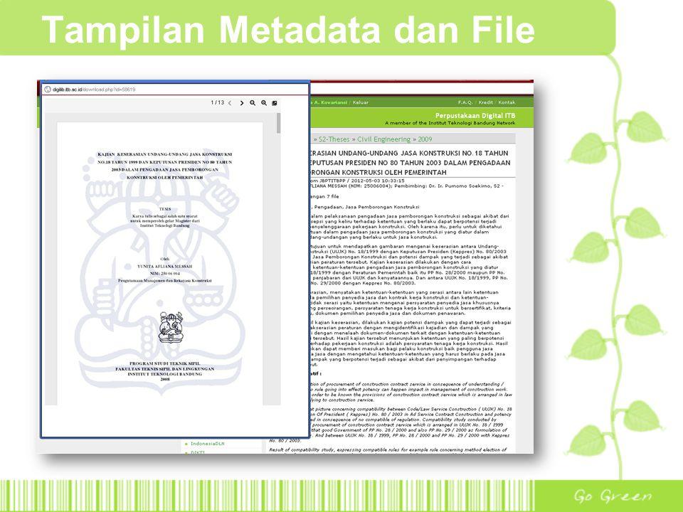 Tampilan Metadata dan File