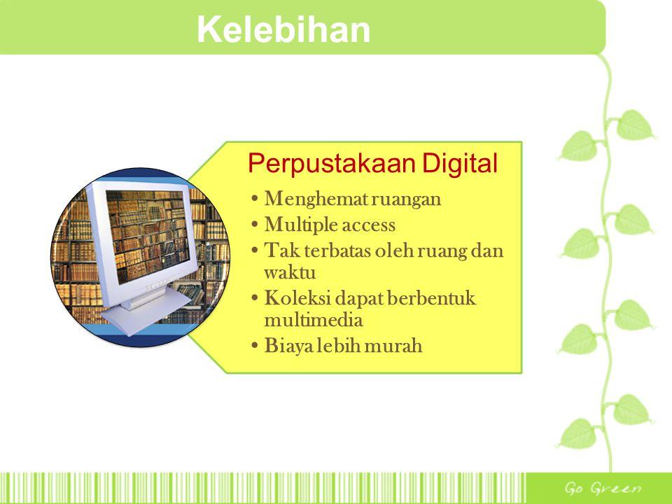 Kelebihan Perpustakaan Digital Menghemat ruangan Multiple access Tak terbatas oleh ruang dan waktu Koleksi dapat berbentuk multimedia Biaya lebih mura