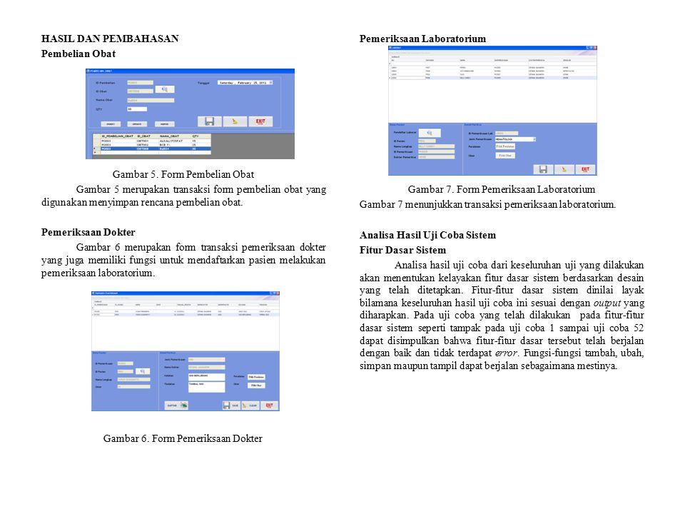 HASIL DAN PEMBAHASAN Pembelian Obat Gambar 5. Form Pembelian Obat Gambar 5 merupakan transaksi form pembelian obat yang digunakan menyimpan rencana pe