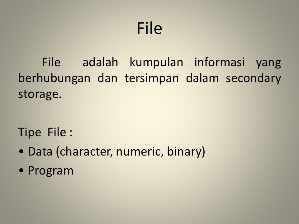 File File adalah kumpulan informasi yang berhubungan dan tersimpan dalam secondary storage. Tipe File : Data (character, numeric, binary) Program