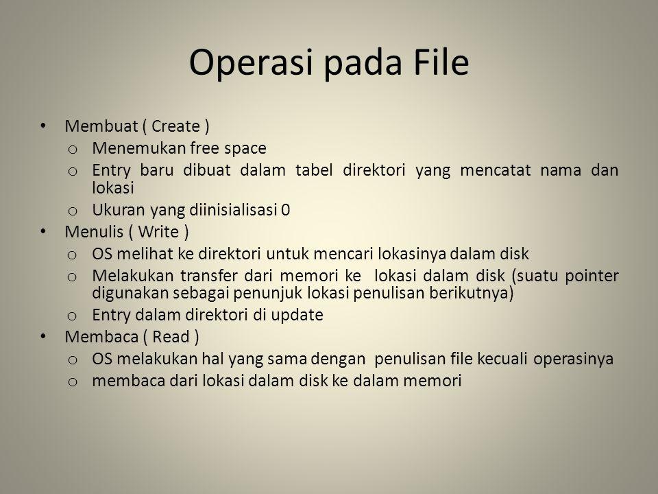 Operasi pada File Membuat ( Create ) o Menemukan free space o Entry baru dibuat dalam tabel direktori yang mencatat nama dan lokasi o Ukuran yang diin
