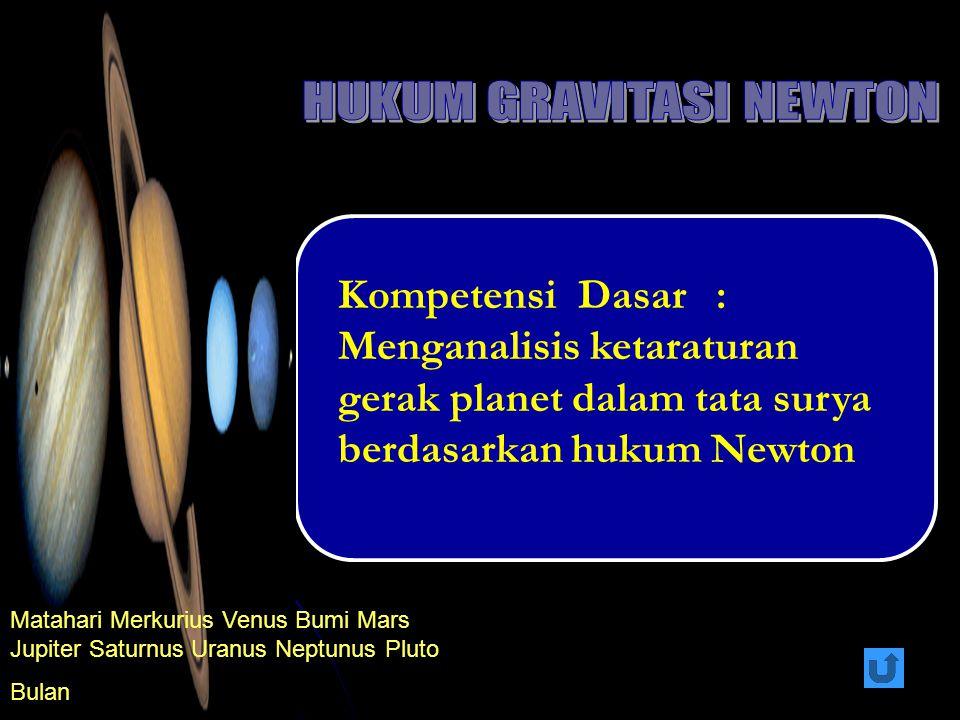 Kompetensi Dasar : Menganalisis ketaraturan gerak planet dalam tata surya berdasarkan hukum Newton Matahari Merkurius Venus Bumi Mars Jupiter Saturnus Uranus Neptunus Pluto Bulan