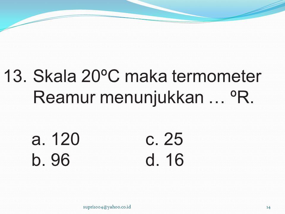 13.Skala 20ºC maka termometer Reamur menunjukkan … ºR.