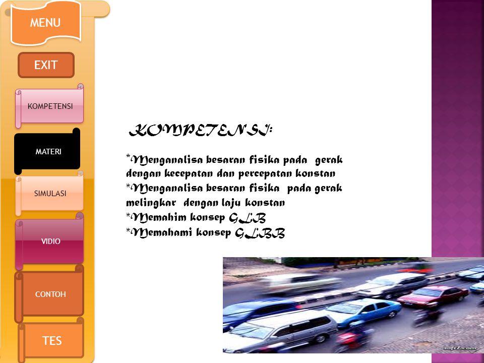 KOMPETENSI: * Menganalisa besaran fisika pada gerak dengan kecepatan dan percepatan konstan *Menganalisa besaran fisika pada gerak melingkar dengan laju konstan *Memahim konsep GLB *Memahami konsep GLBB MENU EXIT KOMPETENSI VIDIO TES CONTOH MATERI SIMULASI